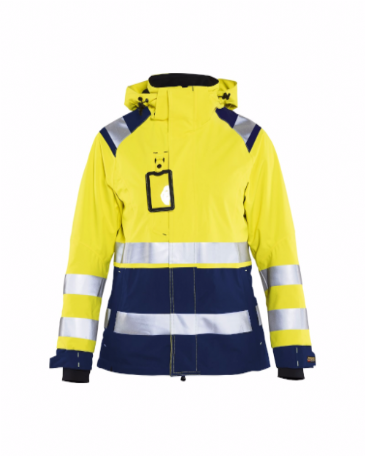 Blaklader 4904 Ladies High Vis Shell Jacket (Yellow/Navy Blue)